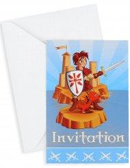 6 Invitationskort med kuverter ridder 10 x 15 cm