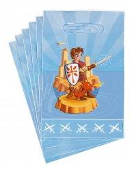 6 Plastik gaveposer ridder 15 x 22,5 cm