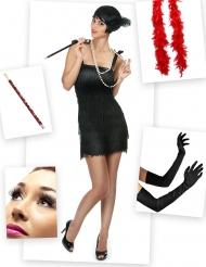 Kostumepakke Charleston rød og sort til kvinder