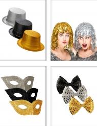 Tilbehørspakke til fest i sort, sølv og guld