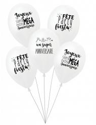 5 Balloner hvide 27 cm