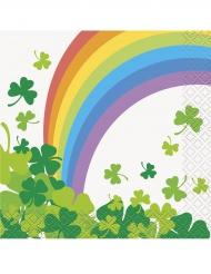16 Små Papirservietter Saint Patrick med regnbue 25 x 25 cm