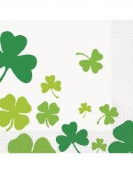 16 Papirservietter Saint Patrick Trekløvere 33 x 33 cm