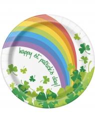 8 Små paptallerkener St Patrick regnbue 17 cm