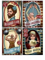 4 Plakater Vintage Cirkus 38 cm