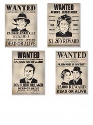 4 Karton plakater Wanted 39 cm