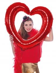 Ballon aluminium hjerte i rød