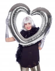 Ballon hjerteformet sølvfarvet