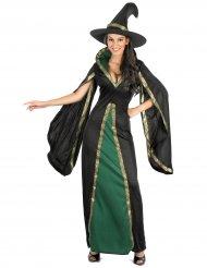 Sort og grøn heksekostume til kvinder