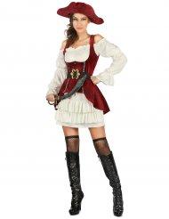 Rødt og hvidt piratkostume til kvinder