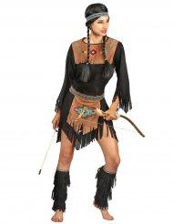 Sort og brun indianerkjole til kvinder