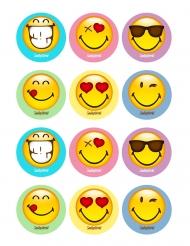 12 Sukkerdekorationer til småkager Smiley World™ 5 x 8 cm