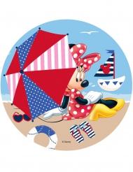 Spiselig kagedekoration Minnie™ på stranden 21 cm
