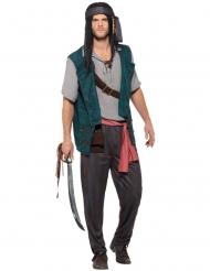 Pirat kostume brun og lilla striber mand