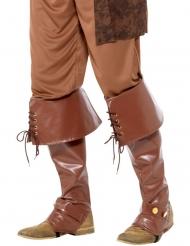 Brune pirat overtræksstøvler til voksne