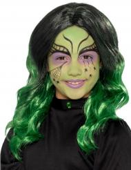Lang sort og grøn paryk til børn