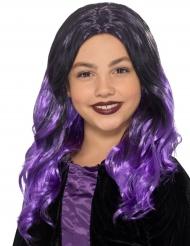 Halloween paryk sort og lilla til børn