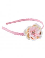 Lyserødt hårbånd med blomst