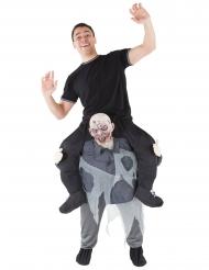 Mand på ryggen af en zombie - Halloween kostume til voksne