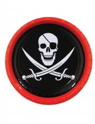 8 paptallerkner pirat dødningehoved 23 cm