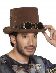 Brun steampunkhat med briller til voksne