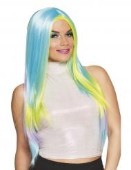 Lang pastelfarvet paryk til kvinder