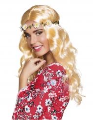 Lang blond paryk med blomster - Til kvinder