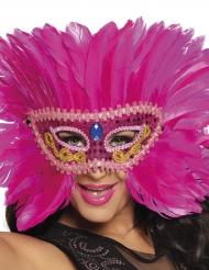 Venetiansk maske med lyserøde fjer
