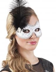 Venetiansk maske med fjer og sten kvinde