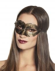 Steampunk halvmaske med gyldne tandhjul kvinde