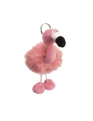 Flamingo nøglering i plys 13x10 cm