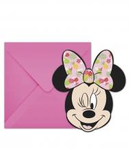 6 Invitationskort  + kuverter Minnie™ Tropical