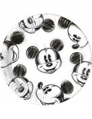 Mickey™ tallerkener retro sort og hvid
