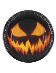 Halloween paptallerkener med græskar 6 stk