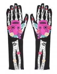 Dia de los muertos skelethandsker til kvinder