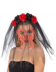 Dia de los Muertos hårbøjle med slør til kvinder
