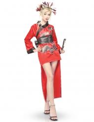 Kimono og hovedbeklædnings drage kvinde rød