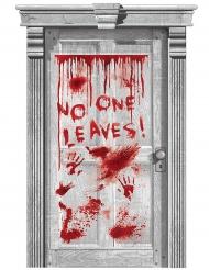 Blodig dørdekoration til Halloween