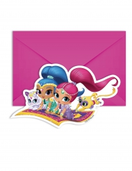 6 Invitationskort med kuvert Shimmer and Shine™ 14 x 9 cm