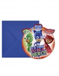 6 Invitationskort med kuvert Pyjamasheltene™ 14 x 9 cm