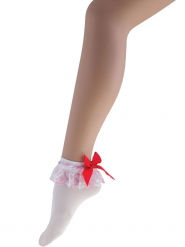 Hvide sokker med rød sløjfe - kvinde