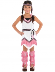 Lyserødt indianer kostume til piger