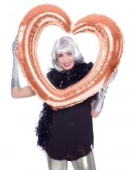 Hjerteformet aluminiumsballon - Rosaguld 80cm