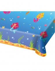 Blå plastikdug med havfruer 180x130 cm