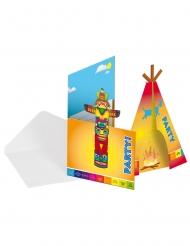 8 Invitationskort med kuverter indianer 12 x 22 cm