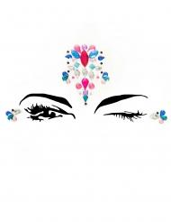 Havfrue smykkesten til ansigtet til voksne - Pink og blå