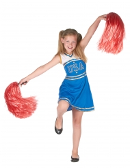 Pompom blåt cheerleader kostume til piger