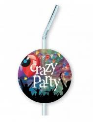 6 sugerør Crazy Party 12 x 33 cm