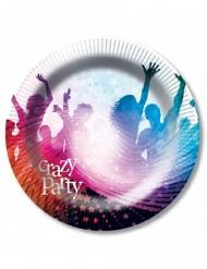 6 Paptallerkener Crazy Party hvid 23 cm