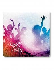 20 Servietter Crazy Party hvid 33 x 33 cm.